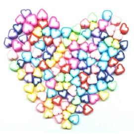 Miçanga coração emborrachado - aprox. 10 mm c/ 40 unds