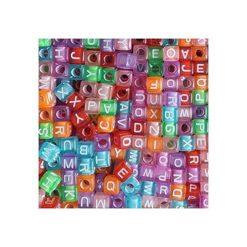 Miçanga dado colorido c/ letras ref. 150755 -  6  mm  c/ 50 grs