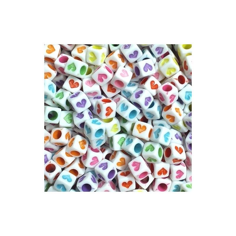 Miçanga quadrada coração ref. 150425 - 6 mm c/ 50 grs