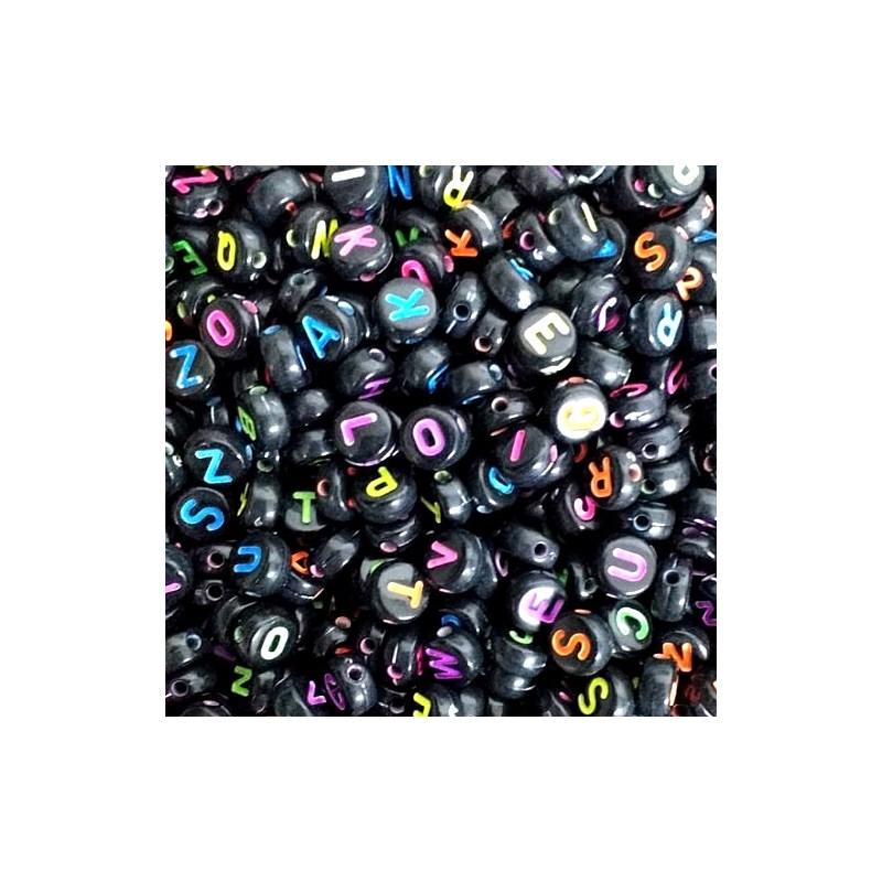 Miçanga redonda c/ letras ref. 150757- 4 x 7 mm c/ 50 grs