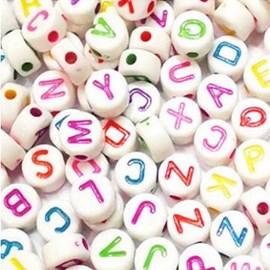 Miçanga redonda letras - ref. 150423 - 4 x 7 mm - aprox . 50 grs