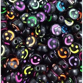 Miçanga redonda preta carinha colorida - 6 mm c/ aprox. 50 grs