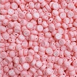 Miçanga redonda rosa / azul  c/ letra branca  - 4 x 7 mm c/ 50 grs