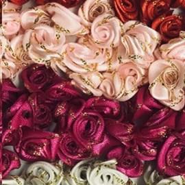 Mini flor rococo detalhe metalizada ref.300104 c/ 100 unds