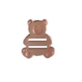 Passa fita acrilico forma urso rosê -aprox. 1.5 cm c/ 5 unds