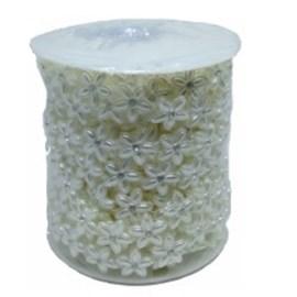Rolo de perola dec. flor c/ strass - 13 mm c/ 10 mts
