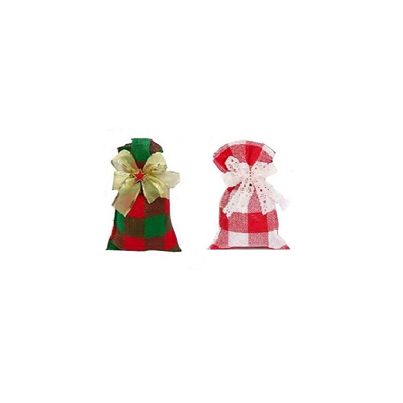Saco de juta xadrez - 10 x 15 cm c/ 10 unds - ( não acompanha o laço )